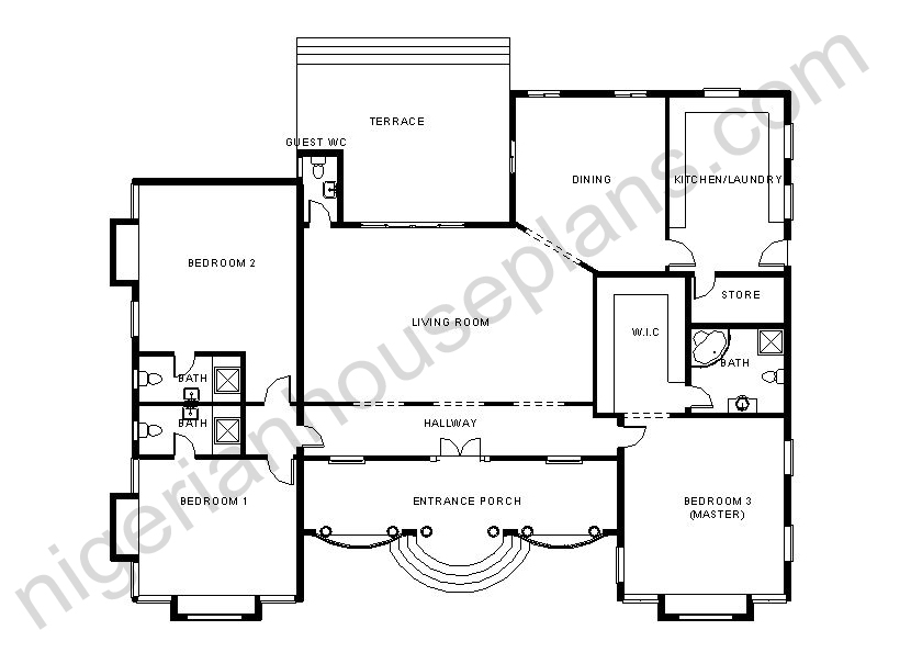 3 4 bedroom bungalow ref 3011 nigerianhouseplans for 5 bedroom bungalow house plans