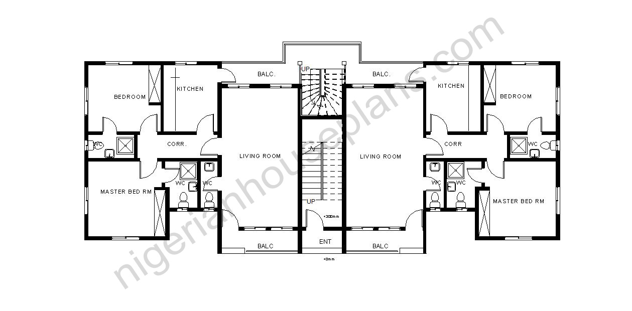 Flats Design 2 bedroom block of flats (ref:2011) - nigerianhouseplans