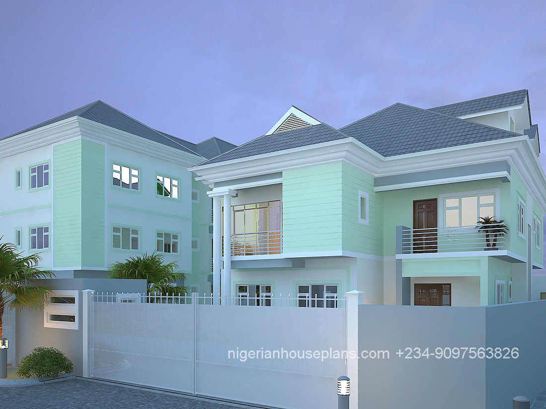 5 bedroom duplex archives nigerianhouseplans for Duplex plans with cost to build