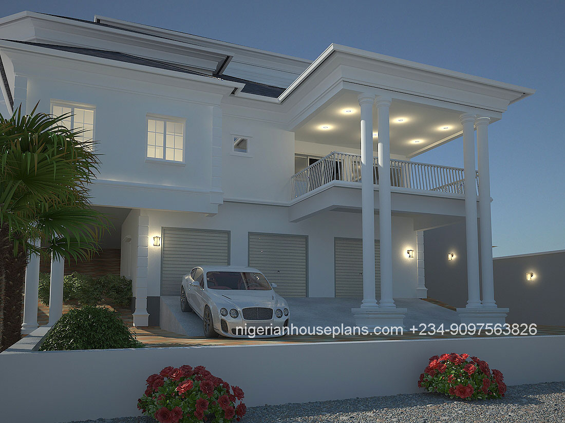 Nigerian house plans 4 bedrom duplex 411 2 - Download 4 Bedroom Residential Modern Duplex House Designs In Nigeria PNG