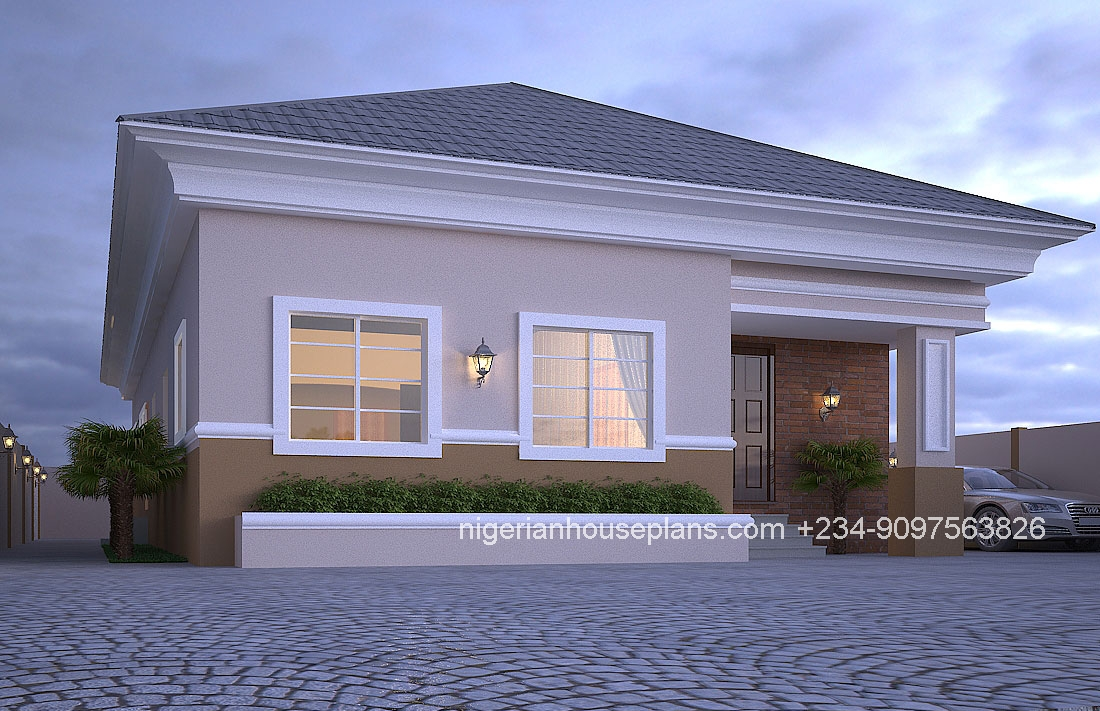 4 bedroom bungalow ref 4012 nigerianhouseplans for Two bedroom bungalow plans
