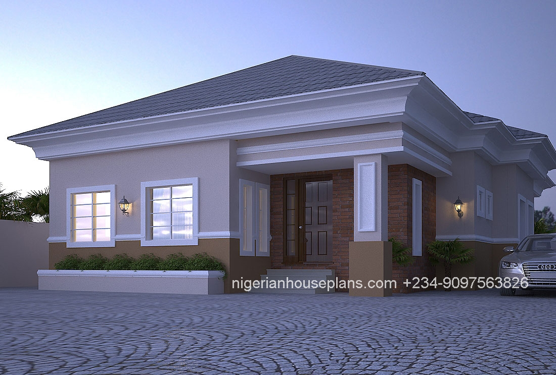 4 bedroom bungalow ref 4012 nigerianhouseplans for 4 bedroom bungalow house designs