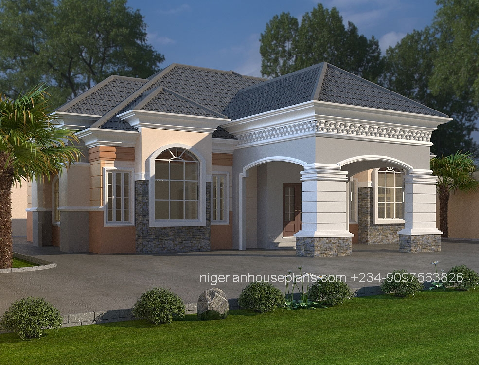 3 bedroom bungalow house plans nigeria for Four bedroom bungalow