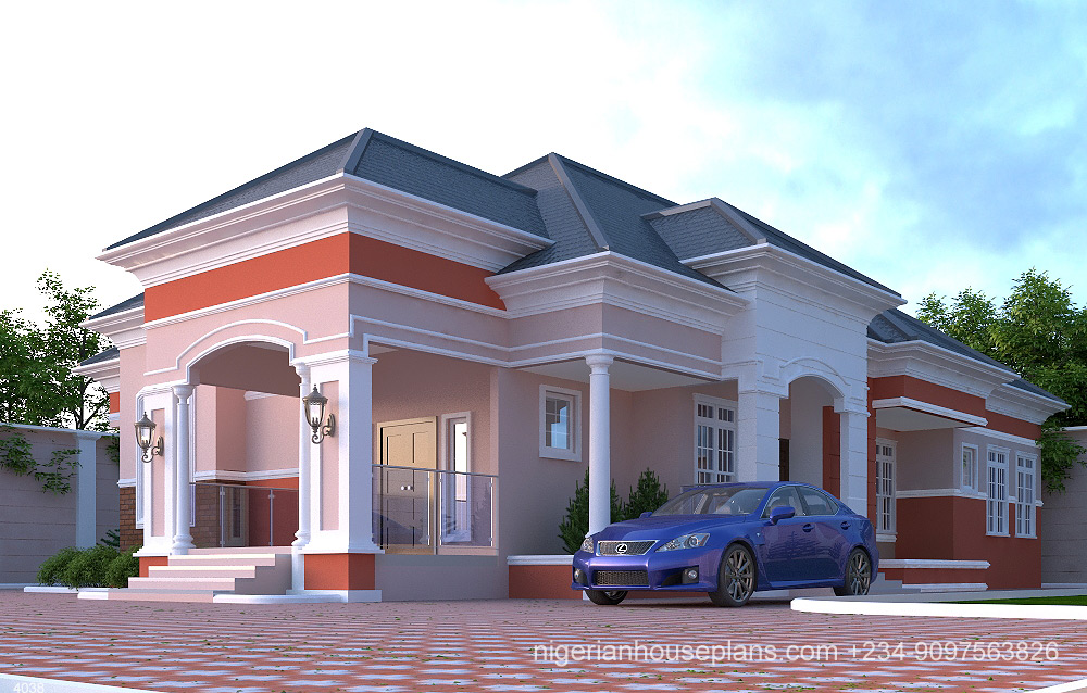 4 Bedroom Bungalow Ref 4038 Nigerianhouseplans,Decorating Homes For Christmas