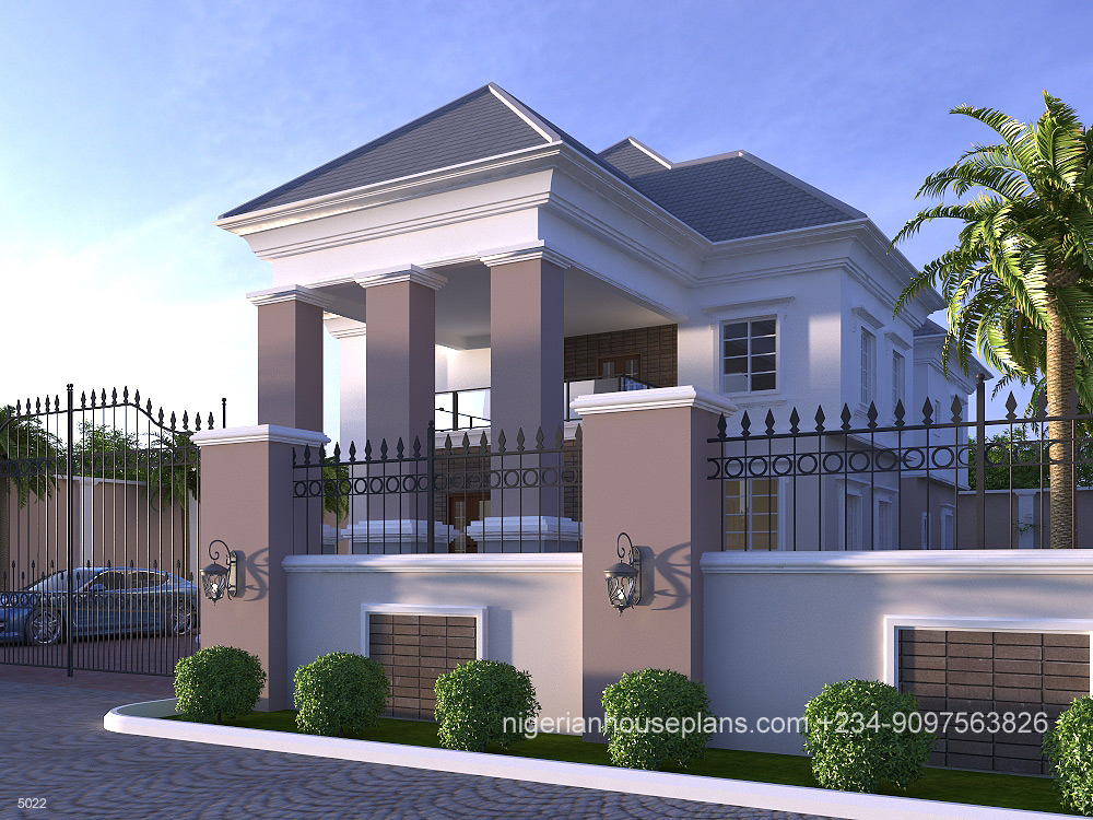 5022 Right view - Download 4 Bedroom Residential Modern Duplex House Designs In Nigeria PNG